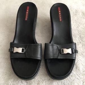 Vintage PRADA Black Slide Wedges Size 37 1/2